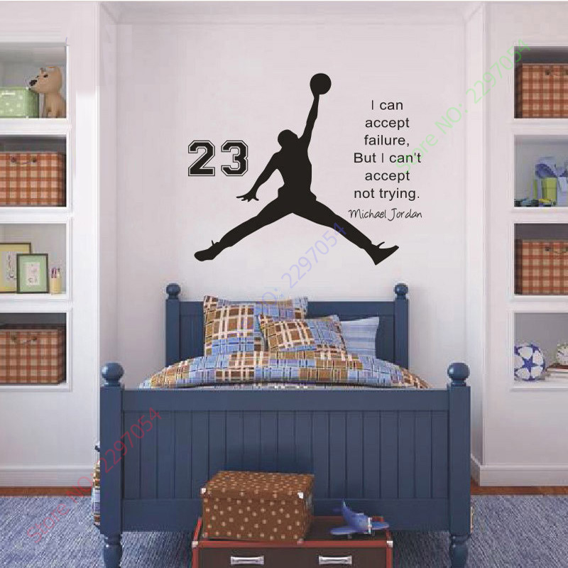 On Sale Michael Jordan Basketball Inspirational Wall Sticker Quotes Vinyl  Wall Decals Wall Mural Art Kids Children Room Decor In Wall Stickers From  Home ...