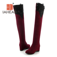 Women Suede Sexy Lace Fashion Over the Knee Boots Thin High Heel Boots wedges Woman Shoes Black Red size 34-43 Plus Size UPB13