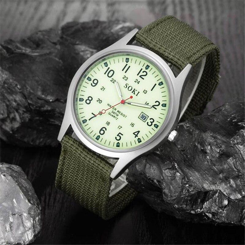 2018 Military Army Men's Date Canvas Band Stainless Steel Sport Quartz Wrist Watch Men Watch Waterproof Relogio Masculino A8