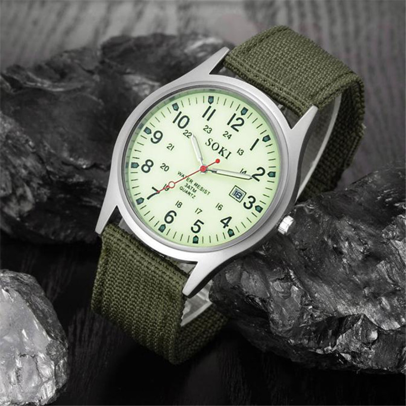 2019 Military Army Men's Date Canvas Band Stainless Steel Sport Quartz Wrist Watch Men Watch Waterproof Relogio Masculino A8