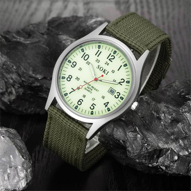 Reloj de pulsera de cuarzo deportivo de acero inoxidable con correa de lona para hombre con fecha militar de 2018