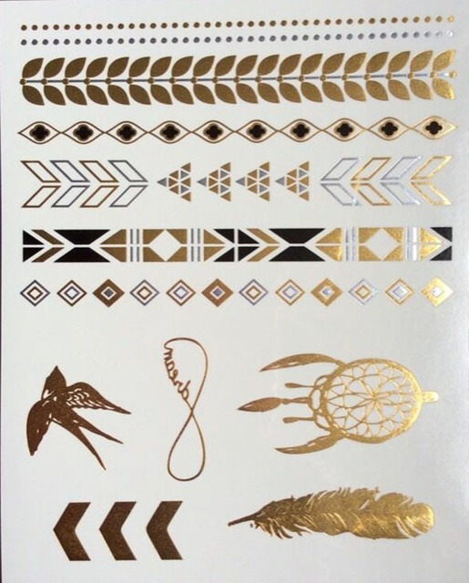 Flash Metallic Tattoos 1pcs 3D Body Art Gold Temporary Tattoo Stickers Bracelet Golden Tatoo Sex Products Henna Tatuagem
