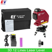 Kaitian Self Leveling 3D Laser Level 12 Lines Vertical Horizontal Lasers With Battery 360 Rotary 635nm