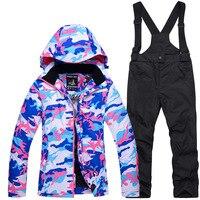 Camouflage Children's Ski Clothing Girls Ski Suit Windproof Waterproof Warm Thickened Single Board Double Board Ski Clothing Set