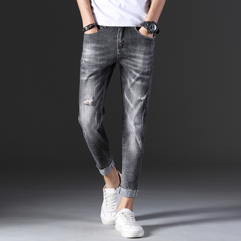 KSTUN 2019 Jeans for Men Skinny Stretch Cropped Ankle-Length Pants Gray Fashion Holes Ripped