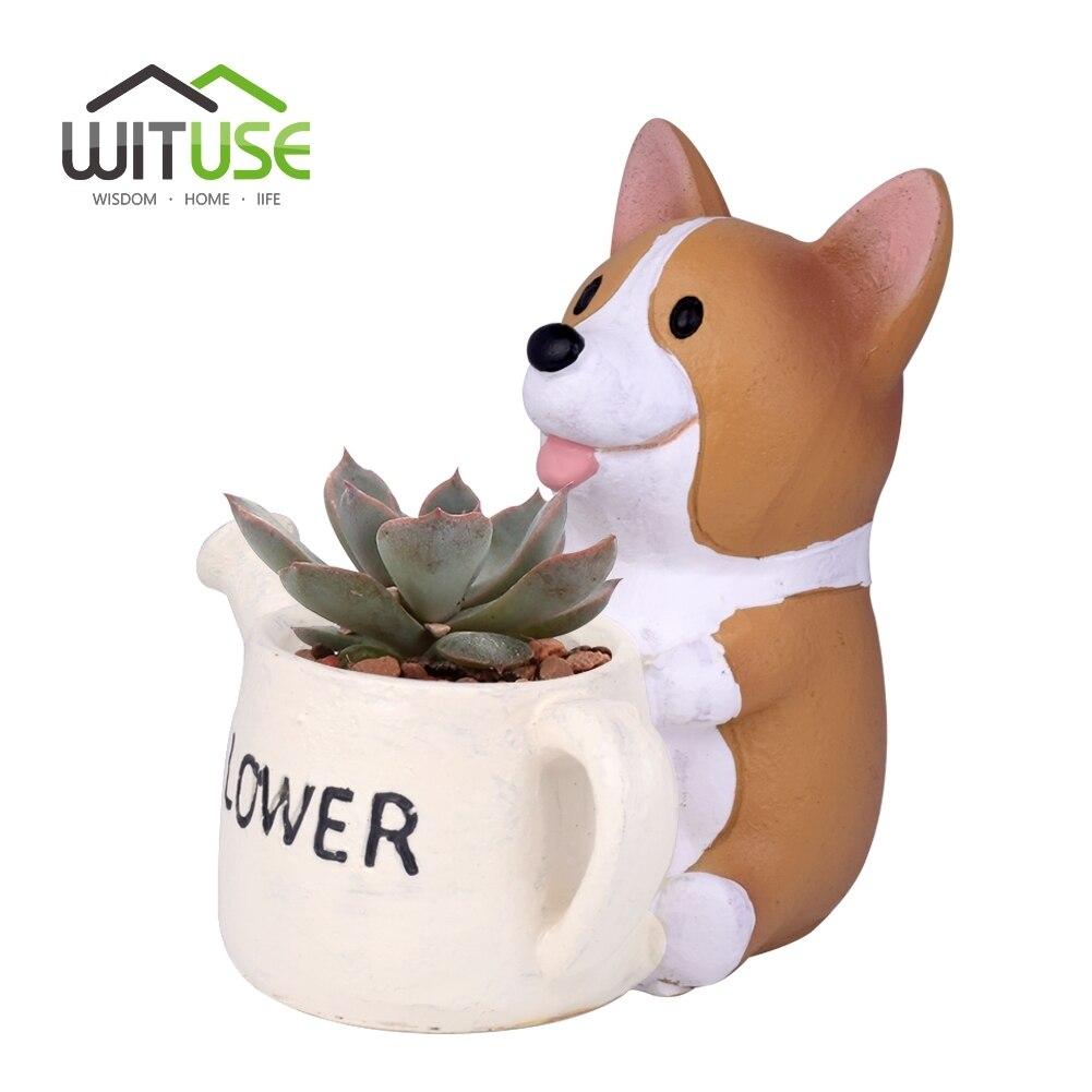 WITUSE 2018 NEW Resin Mini Flower Pot Planter Corgi Garden Plants Succulents Bonsai Potted Flowers Desktop Garden Supplies