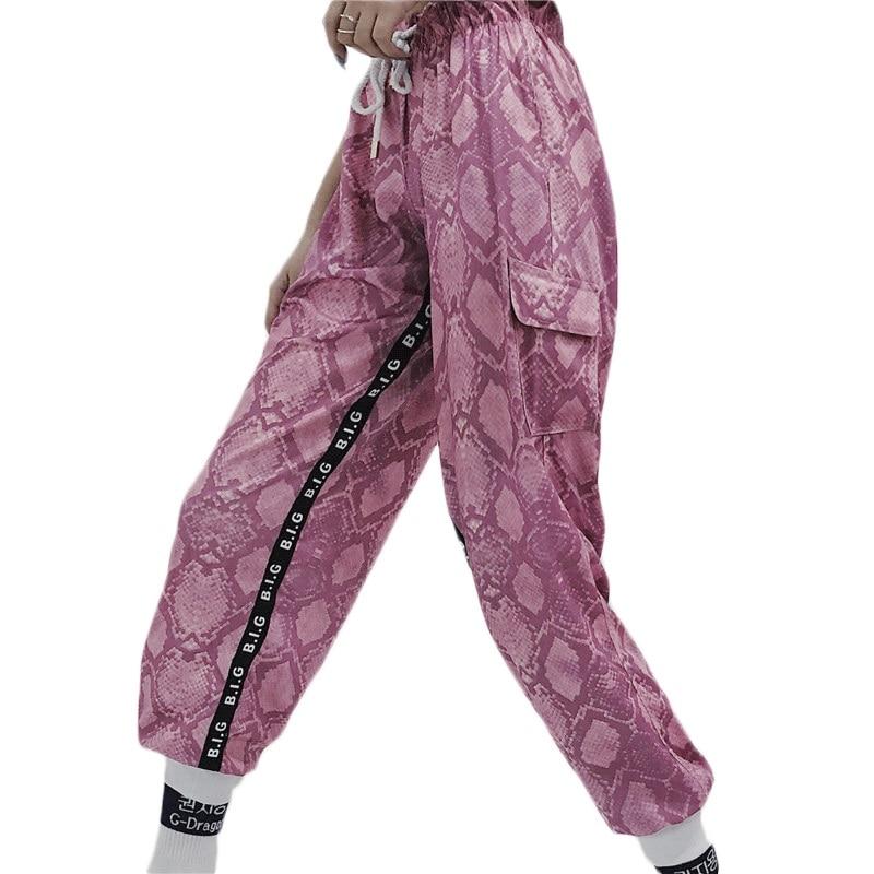 Snake Print Elastic High Waist   Pants   Streetwear Casual Loose Trousers Women Fashion New   Capri     Pants   Women Autumn 2019
