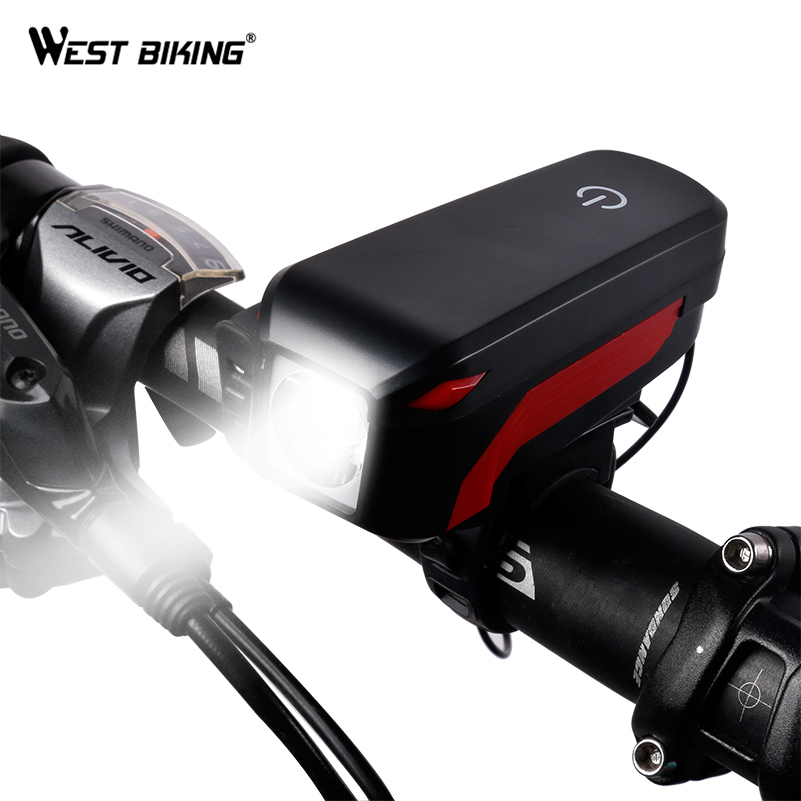 WEST BIKING Bicycle Horn Light Waterproof Touch Bike 140 dB Horn Lamps USB Charging Front Handlebar Horn Warning Safety Lights