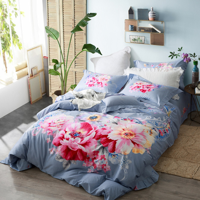 Watercolor Flowers Skyblue Bedding Set Queen King Size Duvet Covers Bed  Sheets Pillowcase 100% Cotton