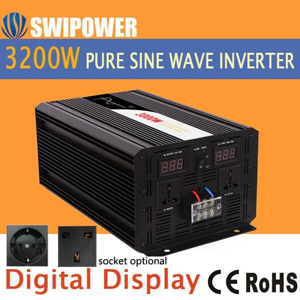3200w 3000W inversor de energía solar de onda sinusoidal pura 24V DC 12V 48V a AC 110V 220V pantalla digital