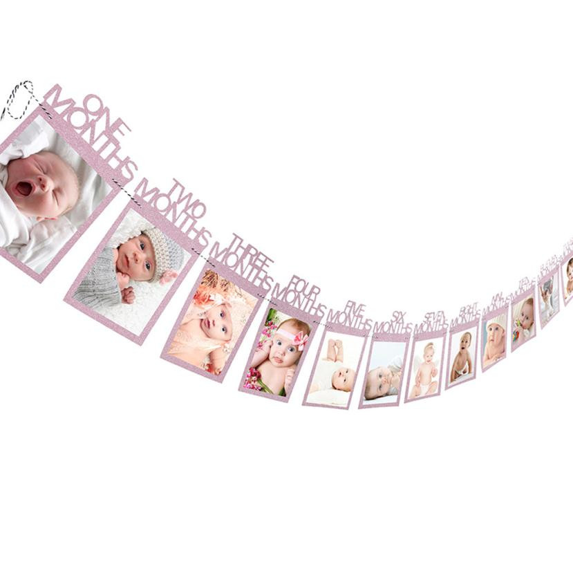 1-12 Month baby Photo holder Kids Birthday Gift Room Decorations Photo Banner Monthly Photo Frame Wall Photo Folder Home Decor