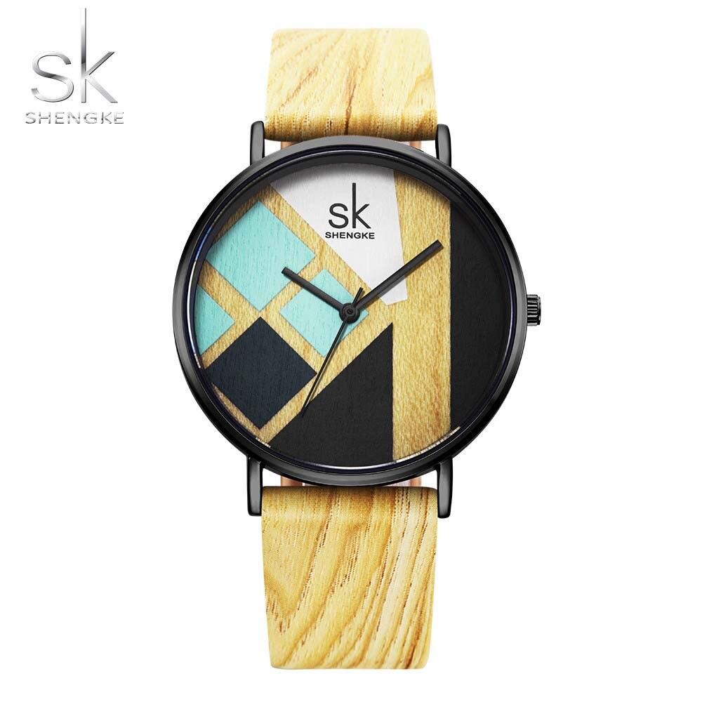 Shengke High Quality Women Watches Wood Leather Watch For Girl Japanese Quartz Analog Wristwatch Casual Watch