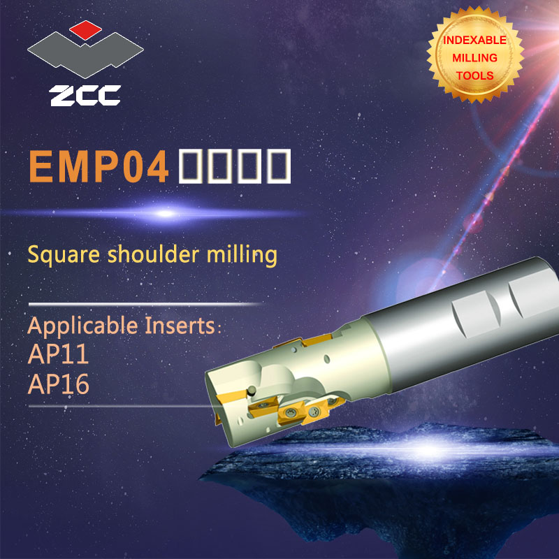 ZCC.CT Square shoulder milling cutters EMP04 high performance CNC lathe tools indexable milling tools high quality square shoulder milling tools holder for cnc lathe machining center cutter with high precision pe01 11a27 080 08