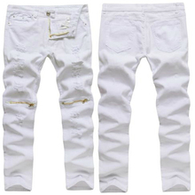 New Mens White Ripped Jeans Cotton Distressed elasticity skinny Thinning Cargo Zipper Above Knee Hip-Hop Male denim Trousers