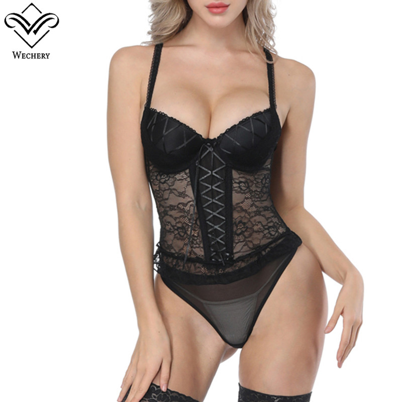 Wechery Women Steampunk Corset Sexy lace Mesh Corset Tops Push Up Gorset For Cosplay Party Show Sexy lingerie Waist Trainer Wear