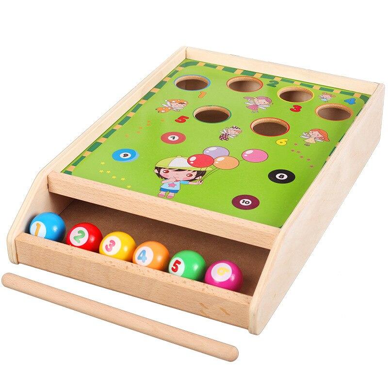 Factory Direct Wholesale Billiard Game Billiards Color Matching Cognitive Parent Child Game, Desktop Classic Toys Kids Wood Toys