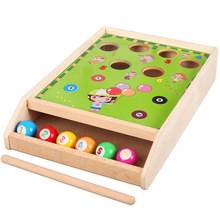 Factory direct wholesale billiard game billiards color matching cognitive parent-child game, Desktop Classic toys Kids wood toys wooden billiards mini desktop billiards fun billiard game billiards