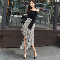 Women Two Piece Sets Knitted Spaghetti Strap Tops Leopard Ruffles Irregular Hem Skirts Elegant Sexy Office Party Fashion Clothes