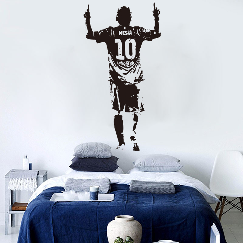 E Wall 5659 Lionel Messi Sports Theme Decals Football Star Stickers For Boys Room School And Bars Decor Special Kids Gifts In From Home