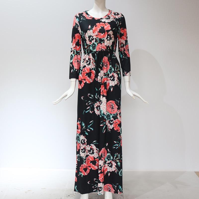 Black color of GVN Rocks Floral Boho Summer Maxi Dress