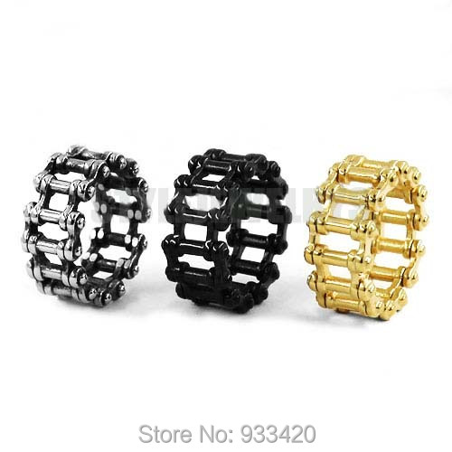 Wholesale Motorcycle Chain Ring Stainless Steel Jewelry Punk Silver Black Gold Bicycle Chain Ring Motor Biker