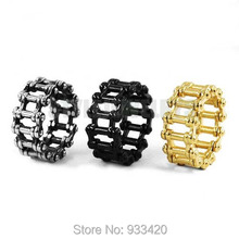 Wholesale Motorcycle Chain Ring Stainless Steel Jewelry Punk Silver Black Gold Bicycle Chain Ring Motor Biker Men Ring SWR0635B