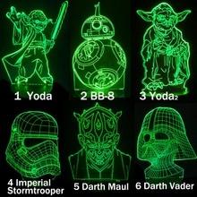 Cartoon Yoda BB-8 Darth Vader Stormtrooper 3D Lamp Table LED USB Creative Gifts Night Light RGB Kid Toys Bedroom Decor