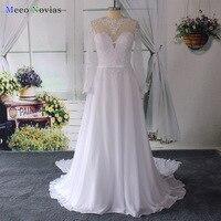 Vestido De Noiva Illusion Neck A Line Wedding Dresses 2016 See Through Back Lace Vintage Wedding