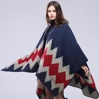 New Brand Women's Autumn/Winter Poncho Vintage Blanket Women Lady Knit Shawl Cape Cashmere Long Scarf Poncho Cardigans H192
