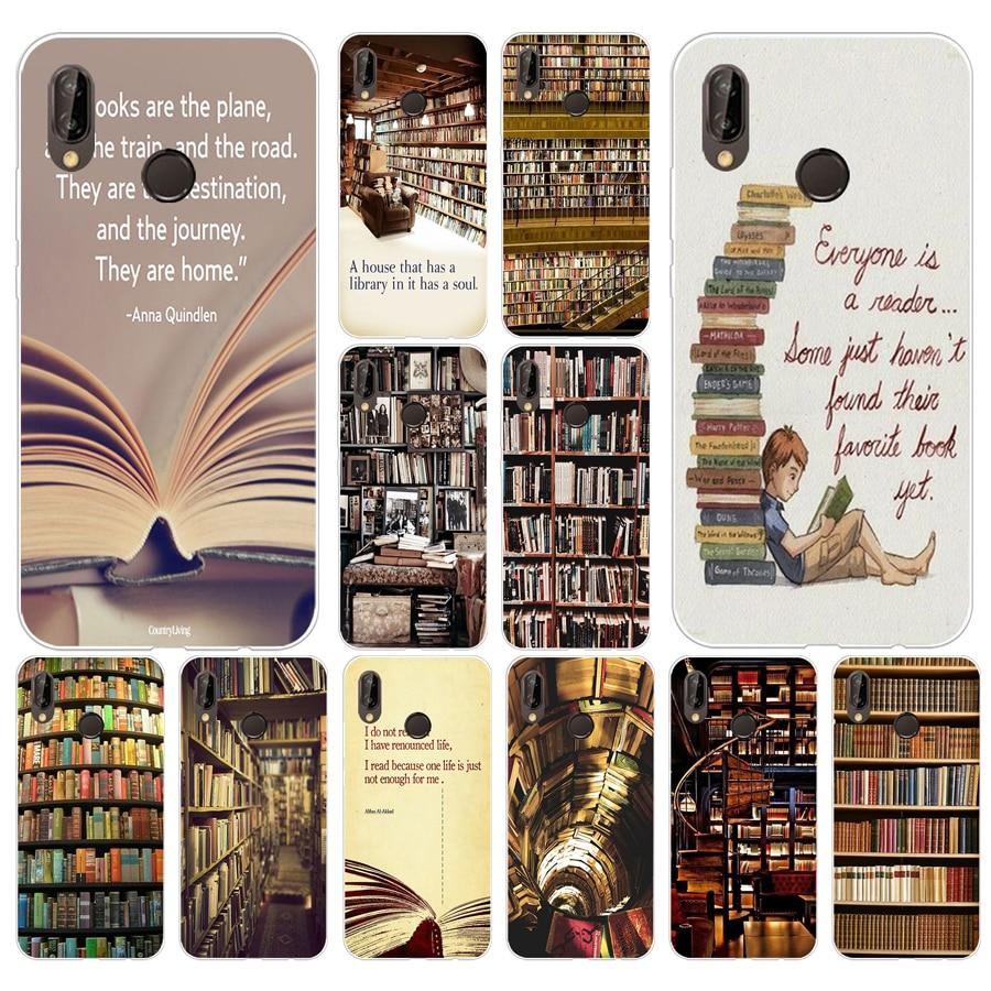 139 H Retro Boek Plank Boekenplank Bibliotheek Zachte Siliconen Tpu Cover Case Voor Huawei P 20 Lite Pro Y6 2017 Mate 10 Lite