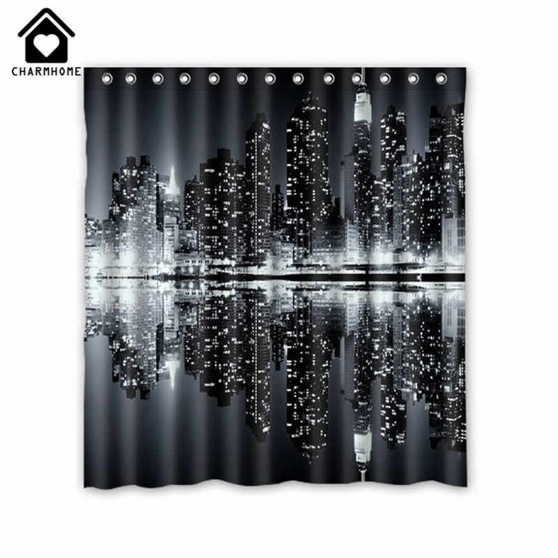 CHARMHOME New York Skyline Black and White Shower Curtain Custom Printed Waterproof Fabric Polyester Bath Curtain Bathroom Decor