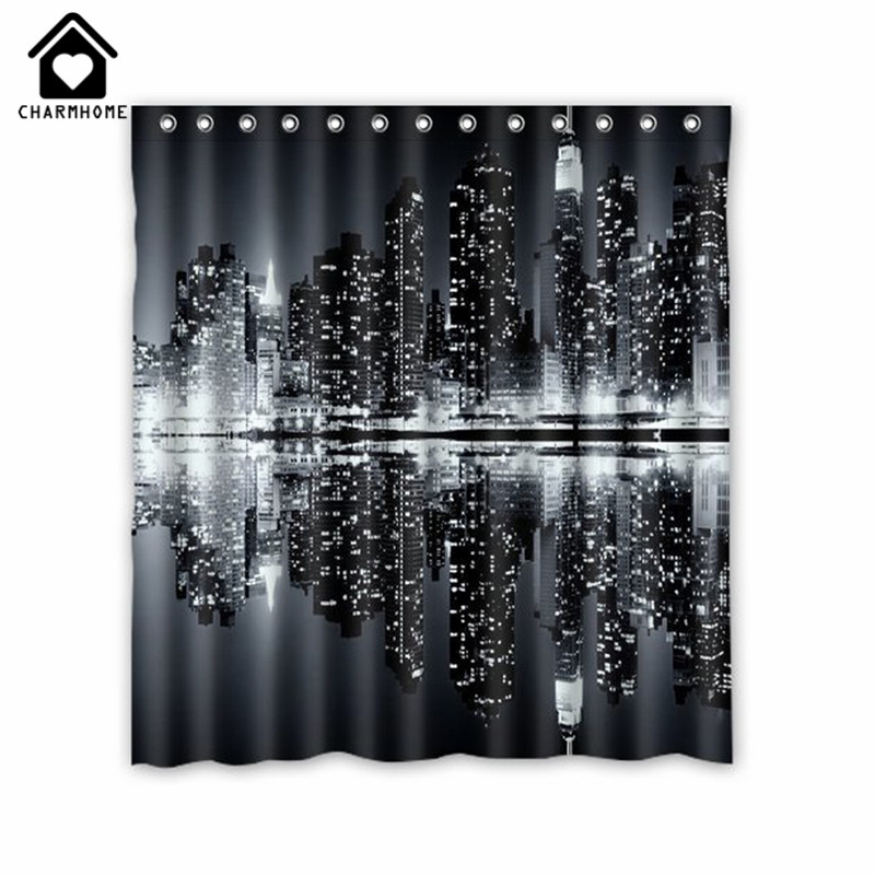 Charmhome new york skyline black and white shower curtain for Curtains and drapes nyc