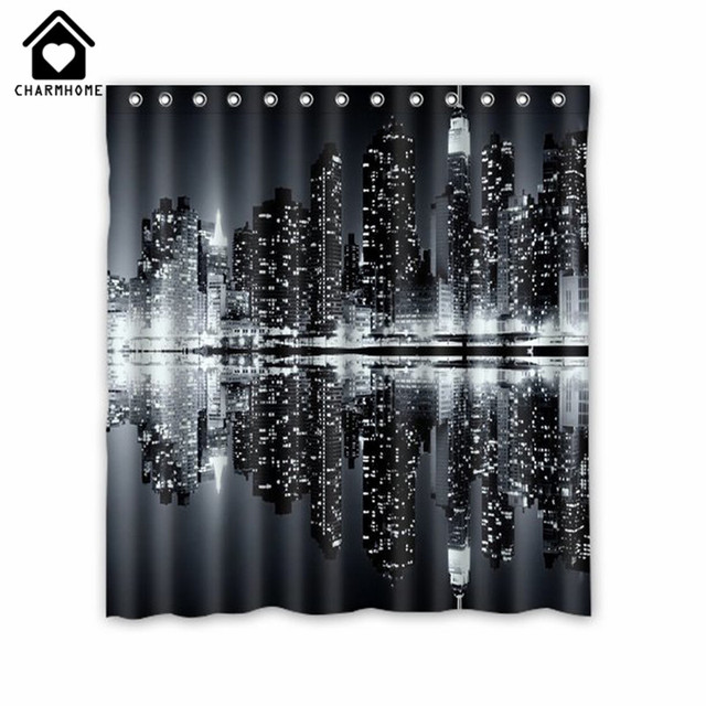 CHARMHOME New York Skyline Black and White Shower Curtain Custom ...