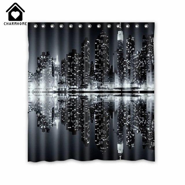 CHARMHOME Skyline di New York Tenda Doccia in Bianco e Nero Stampa Personalizzat