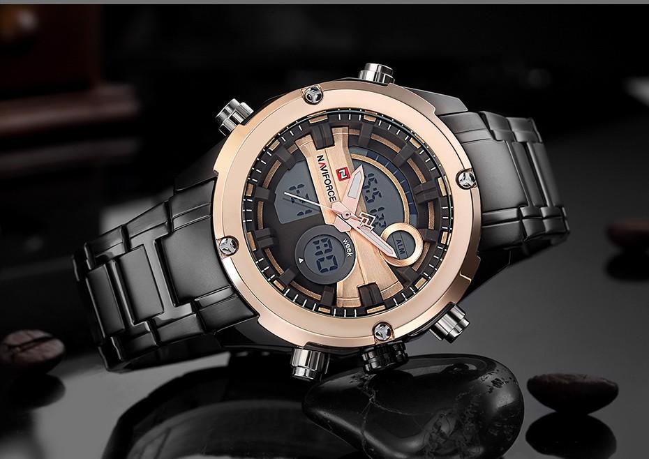 Top Luxury Brand NAVIFORCE Men Full Steel Sport Watches Men's Quartz Analog LED Clock Man Military Wrist Watch Relogio Masculino 7