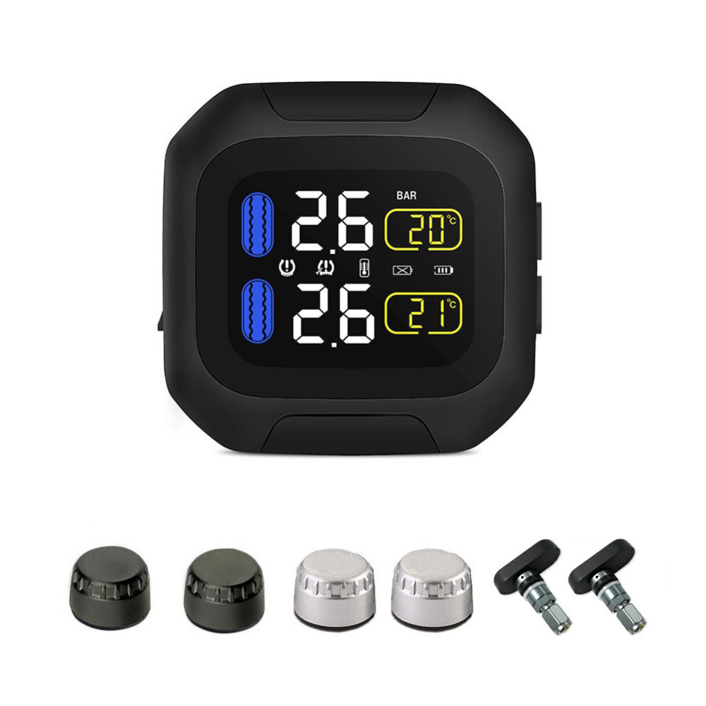M3 Waterproof Motorcycle Real Time Tire Pressure Monitoring System TPMS Wireless LCD Display External SensorsM3 Waterproof Motorcycle Real Time Tire Pressure Monitoring System TPMS Wireless LCD Display External Sensors