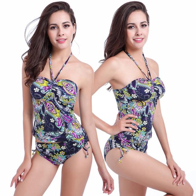 2a14462797b6b Most Popular Vintage Prints Tankini Swimsuit Women 2019 Adjustable Bottom High  Waisted Swimwear Bathing Suit Maillot De Bain