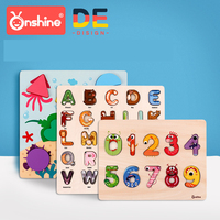 Onshine Children Wooden Puzzle Toys Baby shape digital cognitive board alphabet jigsaw puzzle kids graphic cognitive toy 3Y+