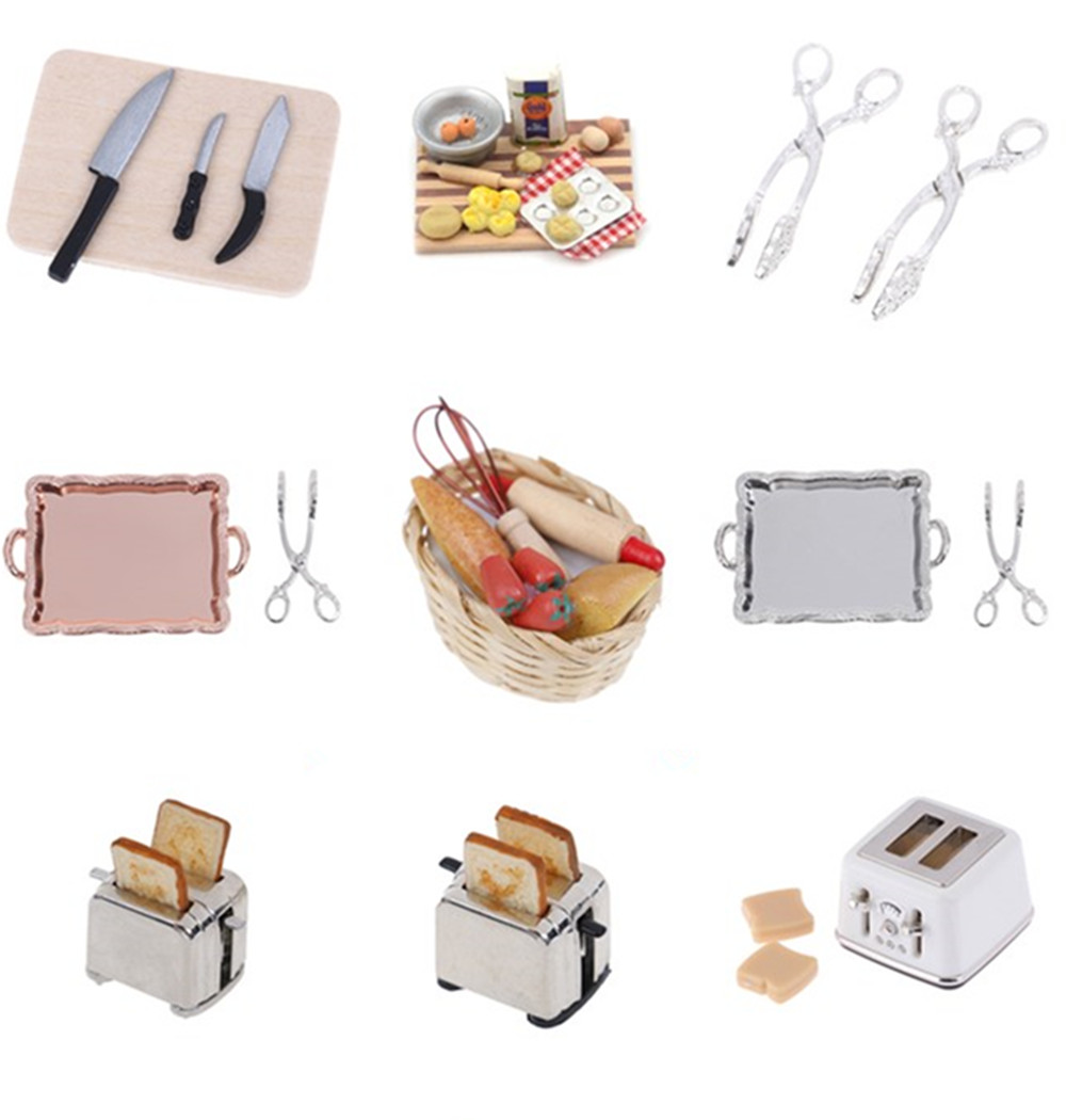 Microwave Food Bread Cooking Board Knife Chopping Block 1: 12 1:6 Scale Miniature For Doll House Pretend Play Kitchen Toy