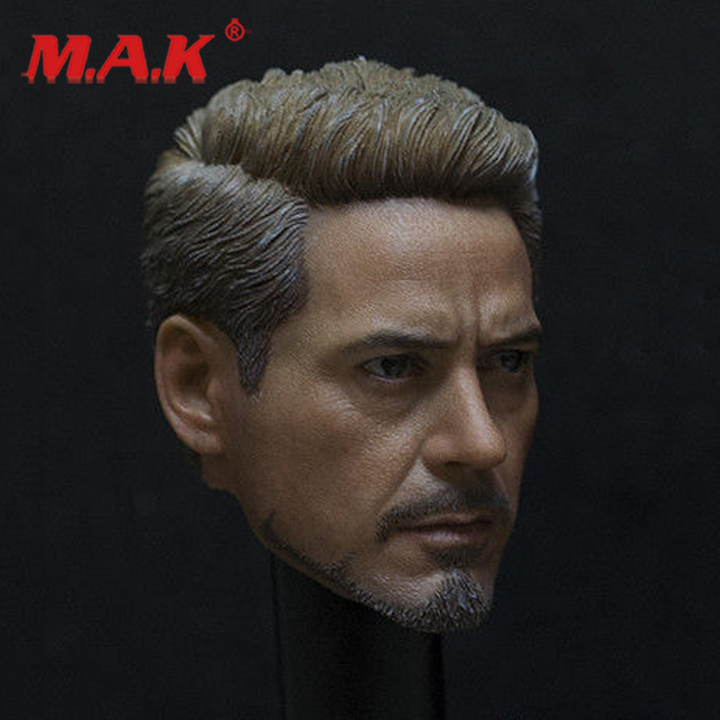 """New 1:6 Scale PVC Male Head Sculpt Tony Stark Iron Man Carved Model Toys fit 12"""" Action Figure for Collection as Gift"""