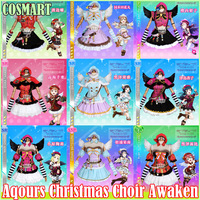 Collection!Anime Love live Sunshine!Aqours Christmas Choir Awaken 9 Members Angel Uniform Dress Cosplay costume NEW2018 freeship