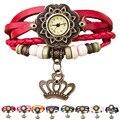 A09 Mujeres relojes Armadura Alrededor de la Corona Pulsera de Cuero de Señora Woman chica reloj de Cuarzo Reloj de Pulsera Al Por Mayor de accesorios