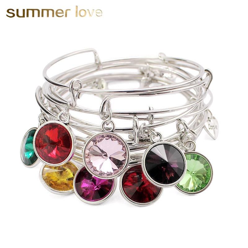 USA Popular Charm Birthstone Bracelet Jewelry 12 Colors Crystal Stone Expandable Wire Bracelets & Bangles Birthday Gift DIY 2018