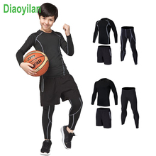 купить Survetement Homme 3 pcs KIDS Sport Suits Quick Dry Basketball Soccer Training Tracksuits child Fitness Gym Clothing Running Sets онлайн