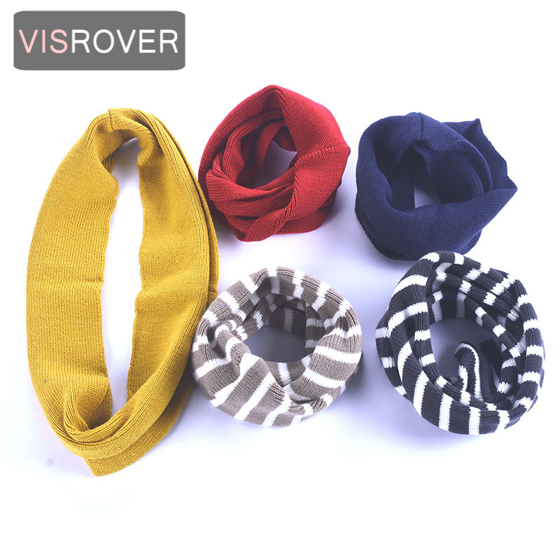 VISROVER 7 Colorways Unisex Kid Solid Knitted Snood Baby Scarf  Children Ring Neckerchief Loop Wool  Kid Scarves Wholesales
