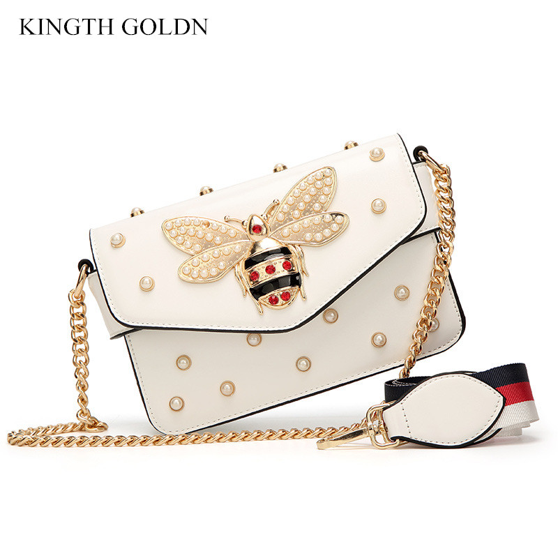 KINGTH GOLDN Fashion Pearl Women Messenger Bag Brand PU Leather Cute Bee Female Shoulder Bag Luxury Women Handbag Crossbody Bags aelicy luxury pu leather women s fashion hairball handbag bag female leather our brand soft new arrival crossbody bags for women