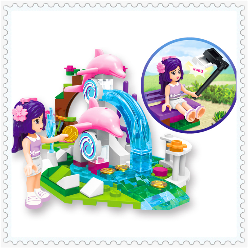 ENLIGHTEN 2002 Cherry Girl Dolphin Fountain Pool Model Building Block 109Pcs Educational  Toys For Children Compatible Legoe 0367 sluban 678pcs city series international airport model building blocks enlighten figure toys for children compatible legoe