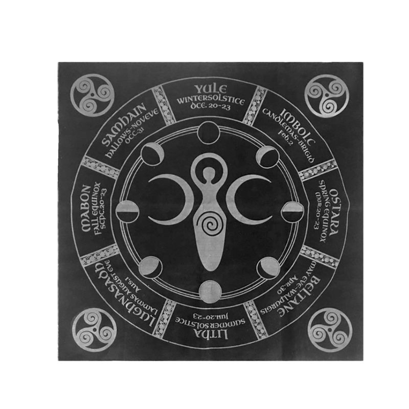 49x49cm Tarot Game Tablecloth Triple Moon Pentagram Pagan Altar Tarot Board Game Mat
