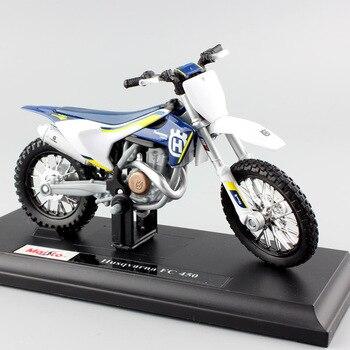 Mini motocicleta KTM Husqvarna FC 1/18, modelo de coche de carreras Enduro, fundido a presión, réplica de Motocross, metal, juguetes para niños, escala 450