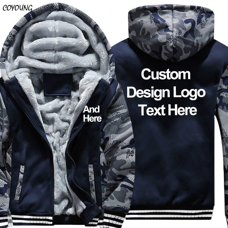 COYOUNG Brand US Size Plus 5XL Casual Men Camouflage Hoodies Print Diy Custom Design Sweatshirt Winter Fleece Thicken Hoodies